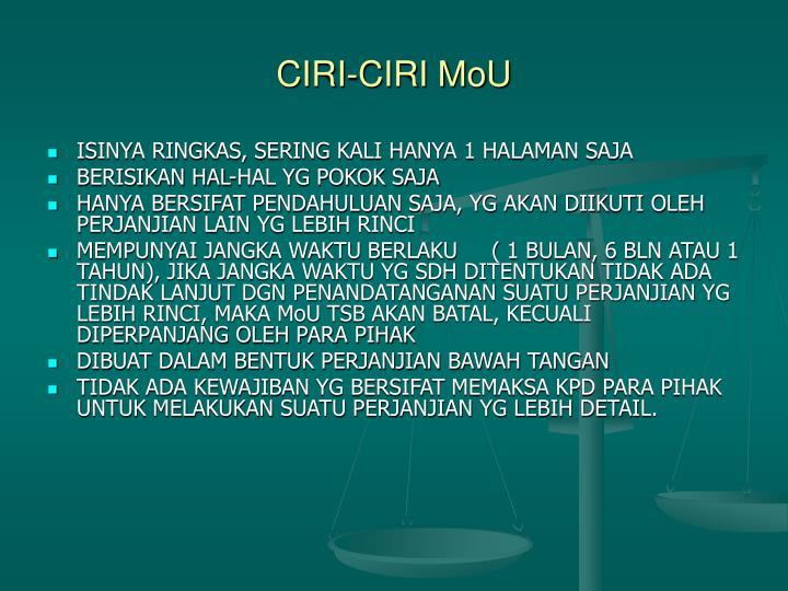 CIRI-CIRI MoU