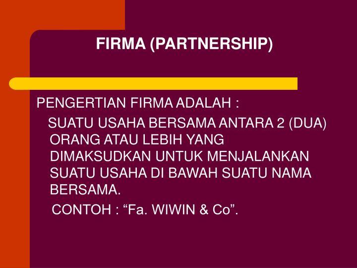 FIRMA (PARTNERSHIP)