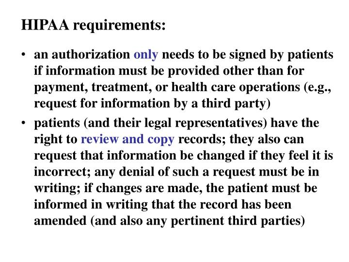HIPAA requirements: