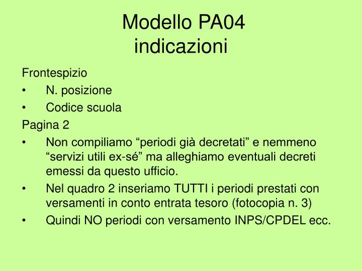 modello pa04 inpdap