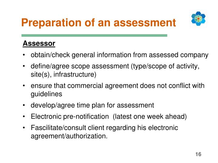 Preparation of an assessment