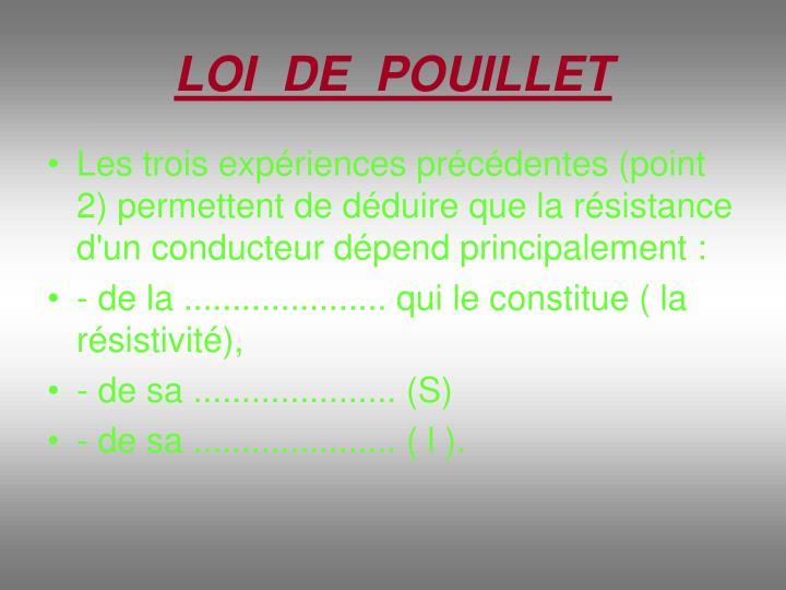 LOI  DE  POUILLET