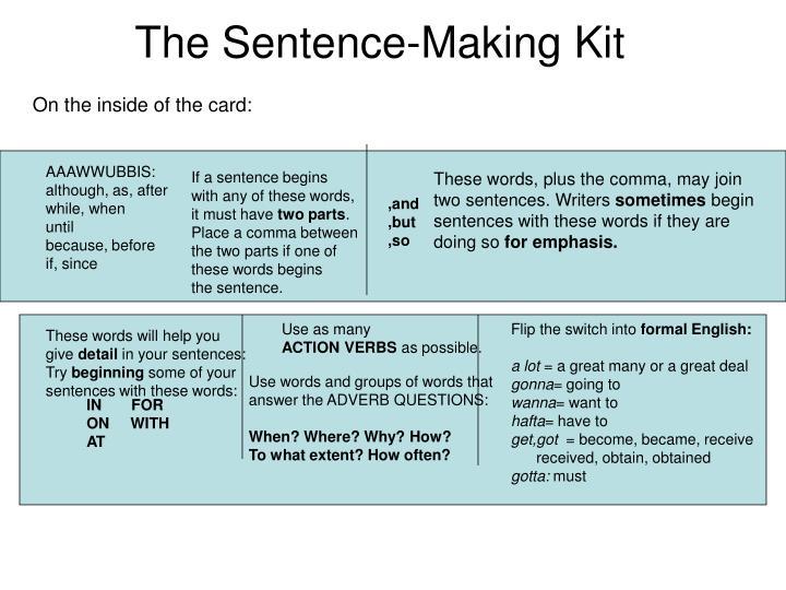 The sentence making kit1