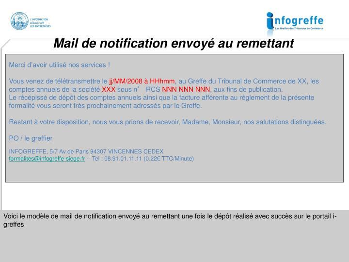 Mail de notification envoyé au remettant