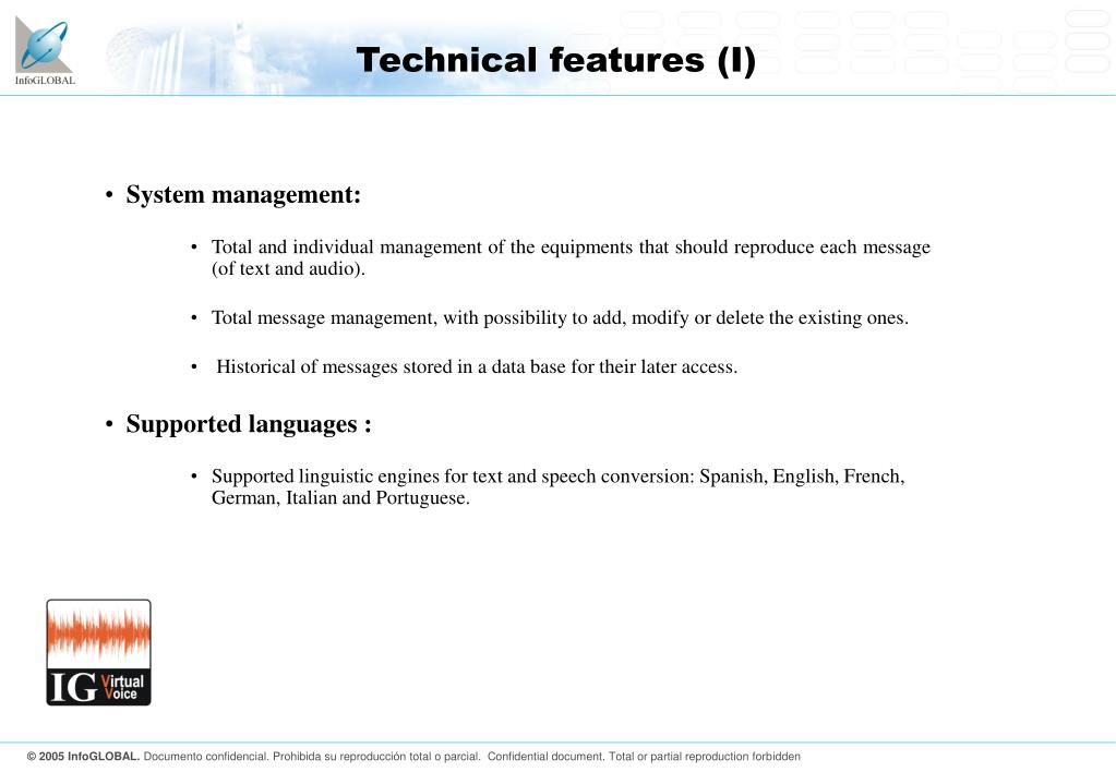 Technical features (I)