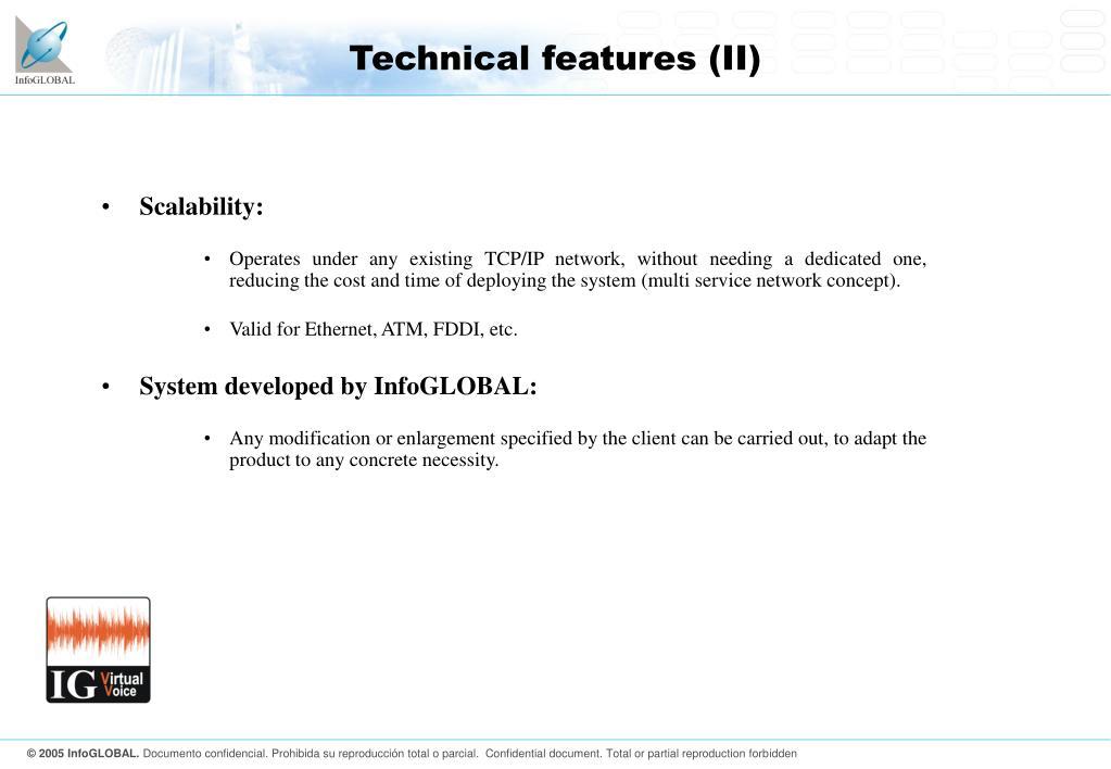 Technical features (II)