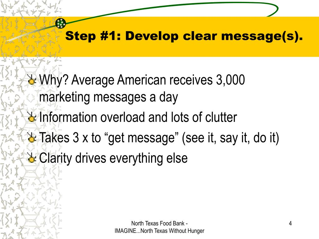 Step #1: Develop clear message(s).