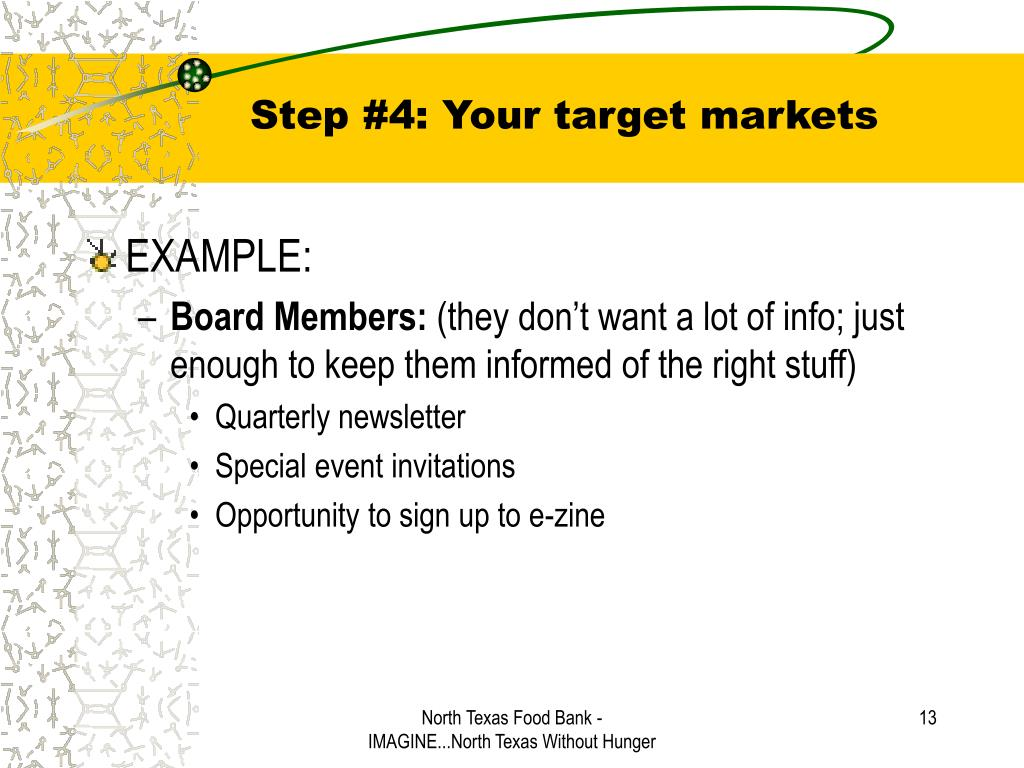 Step #4: Your target markets