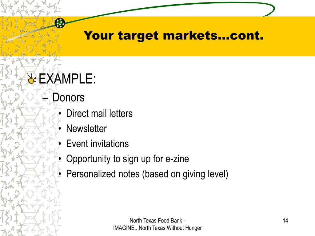 Your target markets…cont.