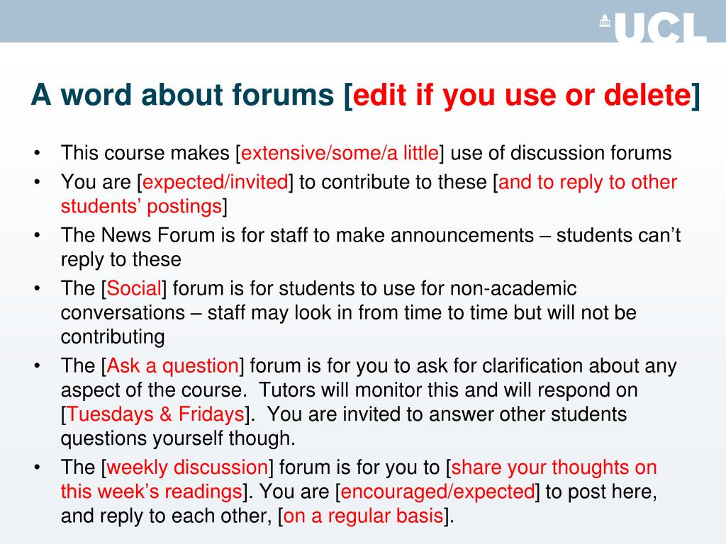 A word about forums [