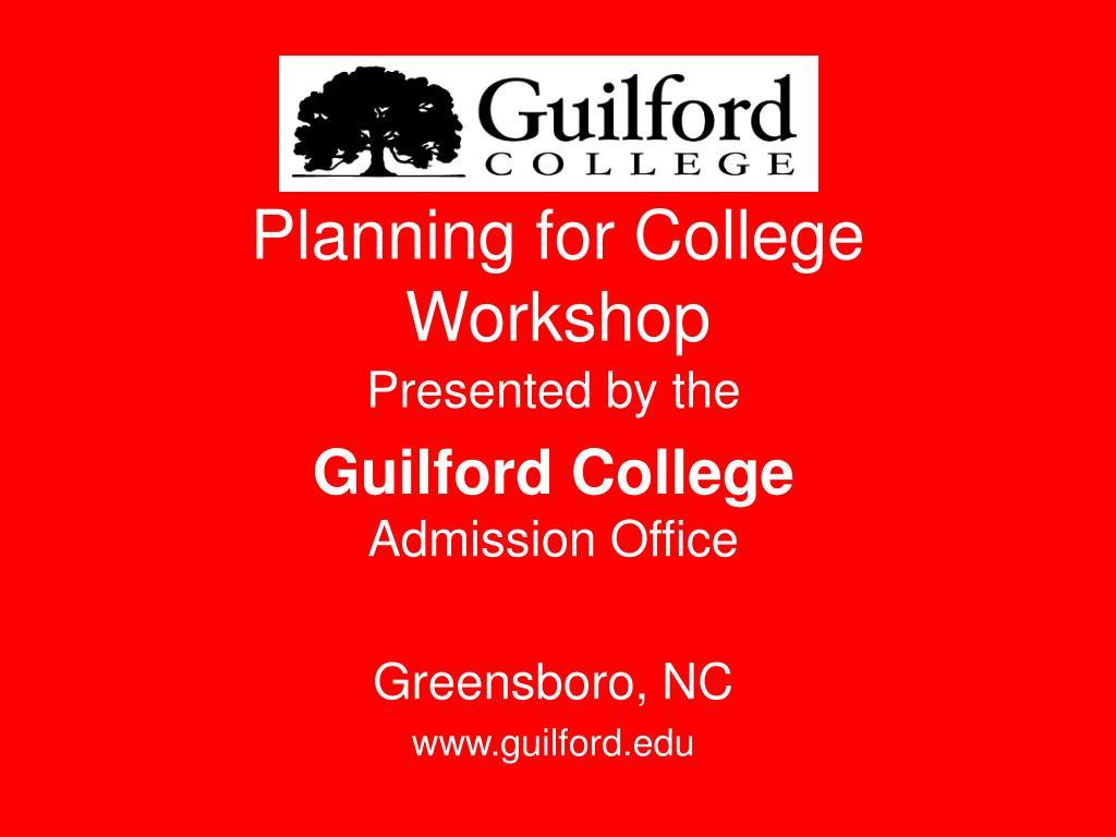 planning for college workshop