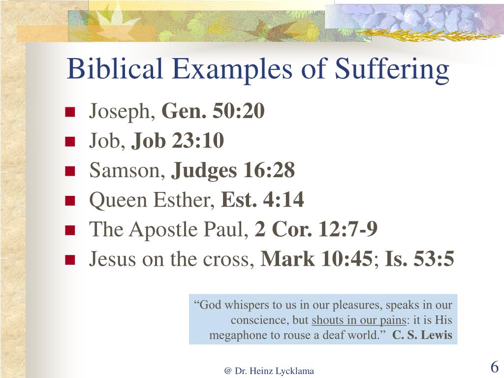 Biblical Examples of Suffering