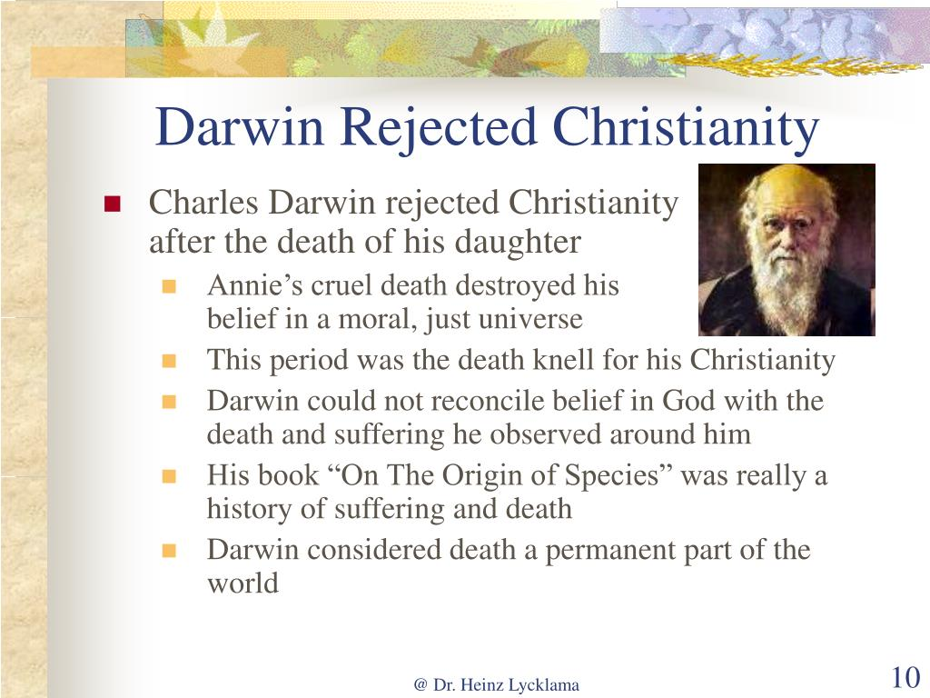 Darwin Rejected Christianity