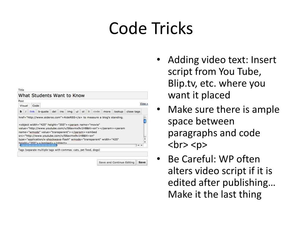 Code Tricks