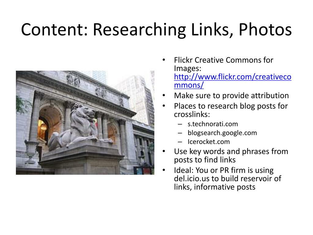 Content: Researching Links, Photos