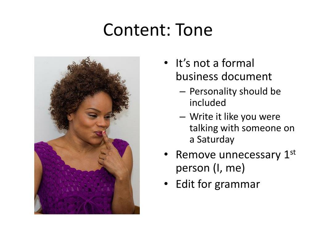 Content: Tone