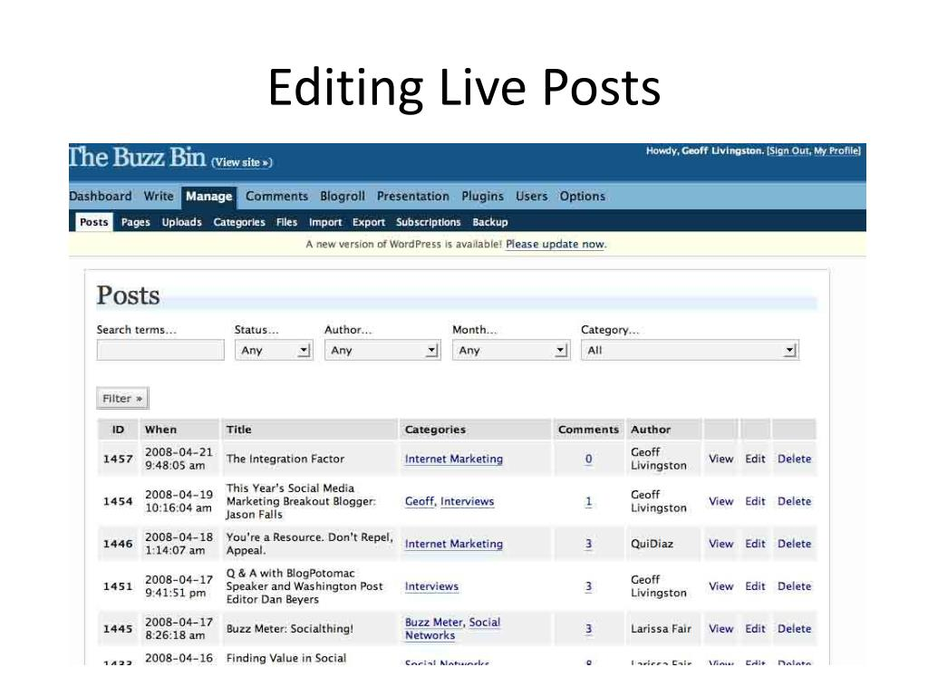 Editing Live Posts