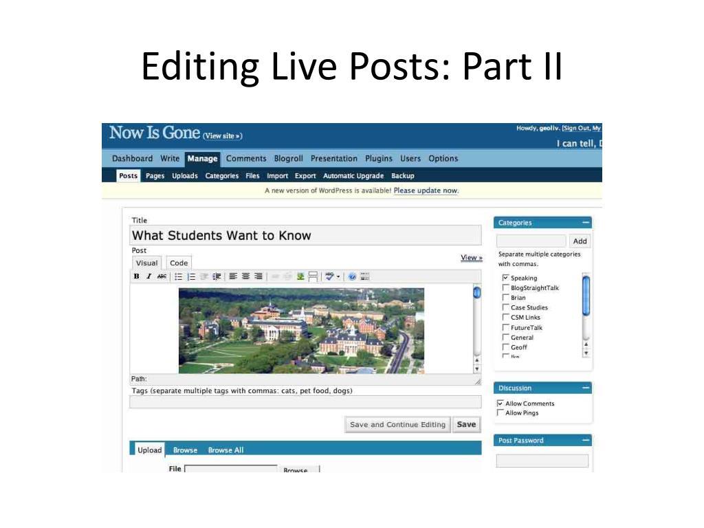 Editing Live Posts: Part II