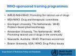 who sponsored training programmes