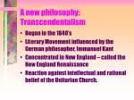 a new philosophy transcendentalism