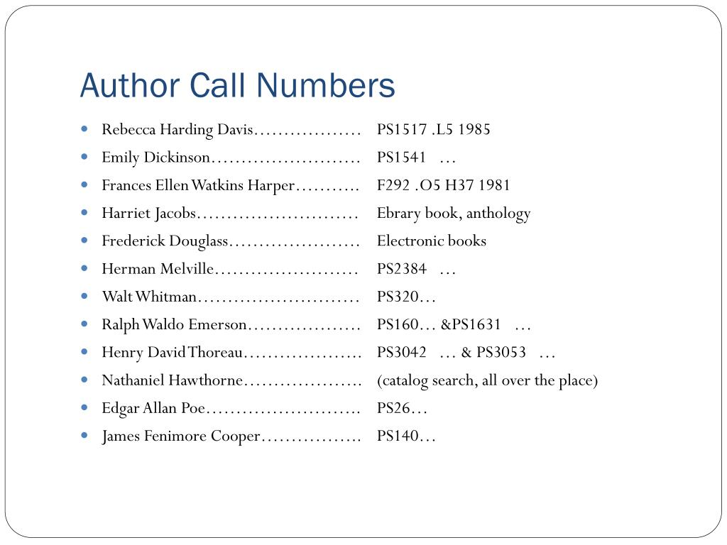 Author Call Numbers