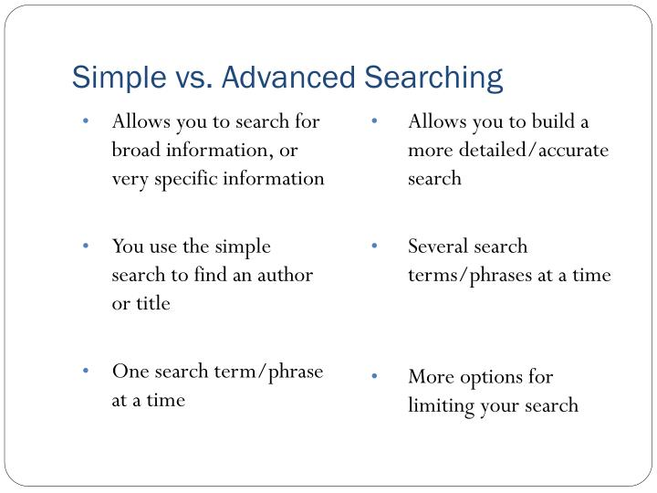 Simple vs advanced searching