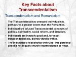 key facts about transcendentalism13