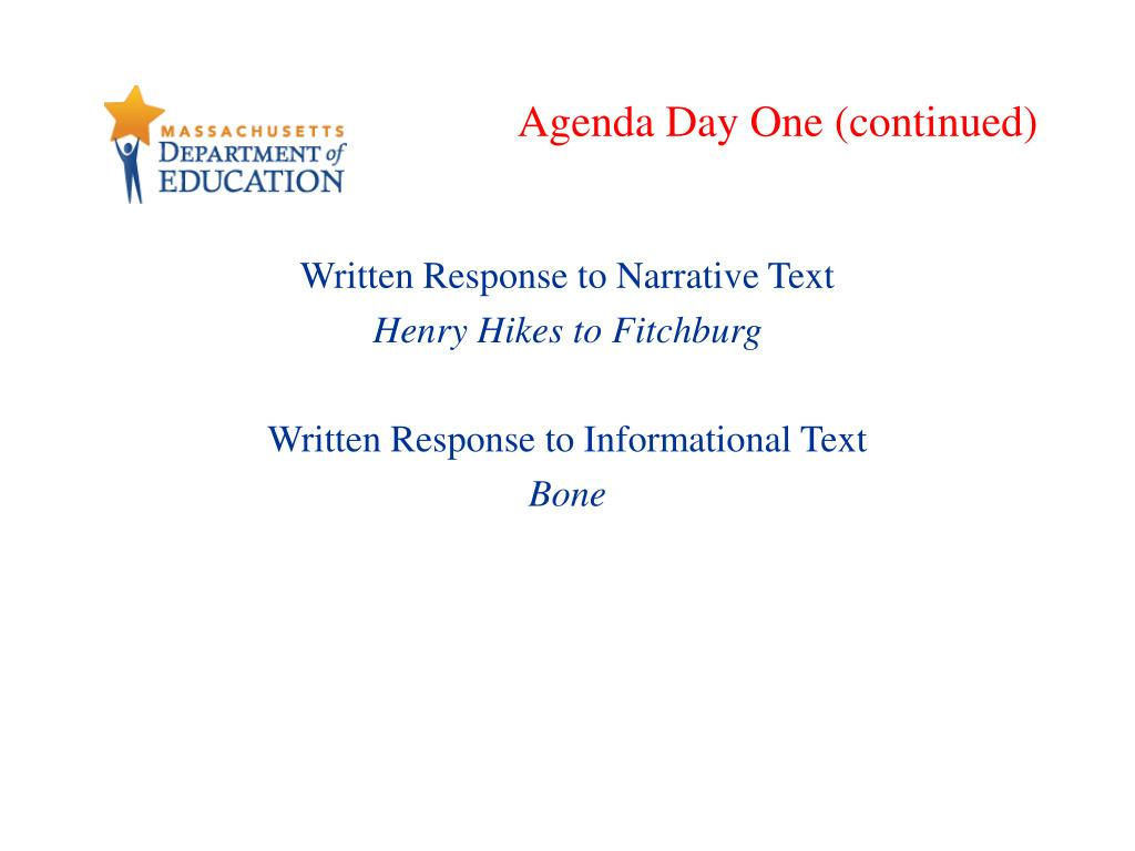 Agenda Day One (continued)