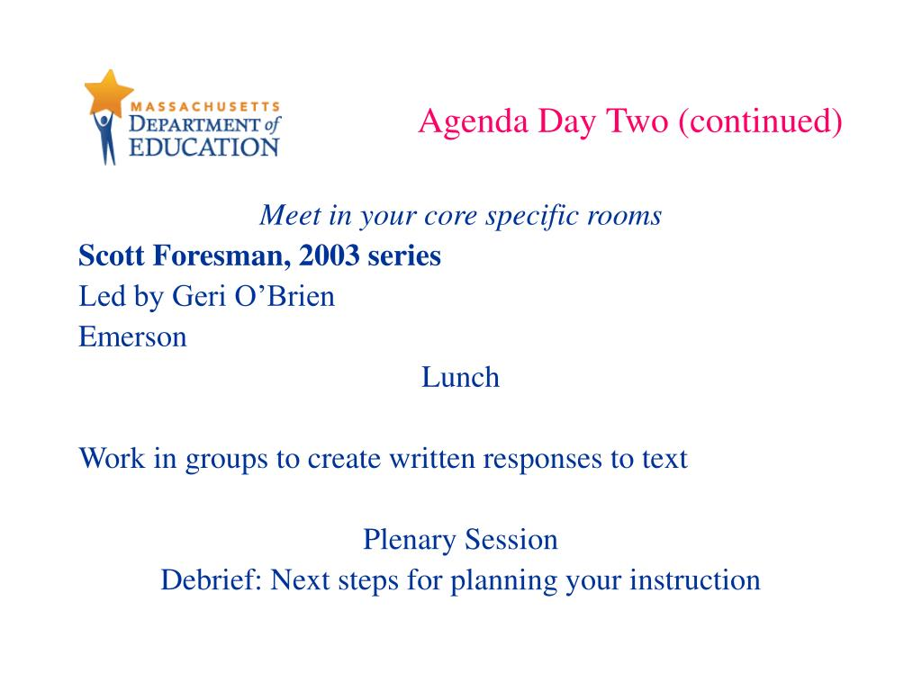 Agenda Day Two (continued)
