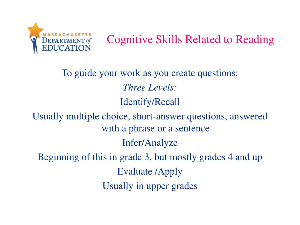 Cognitive Skills Related to Reading