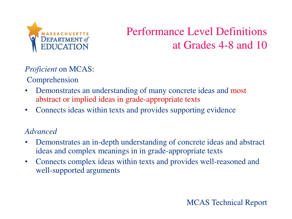 Performance Level Definitions