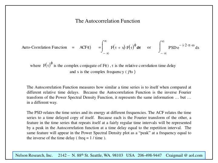 The Autocorrelation Function