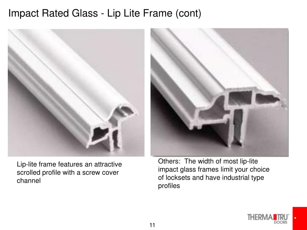 Impact Rated Glass - Lip Lite Frame (cont)