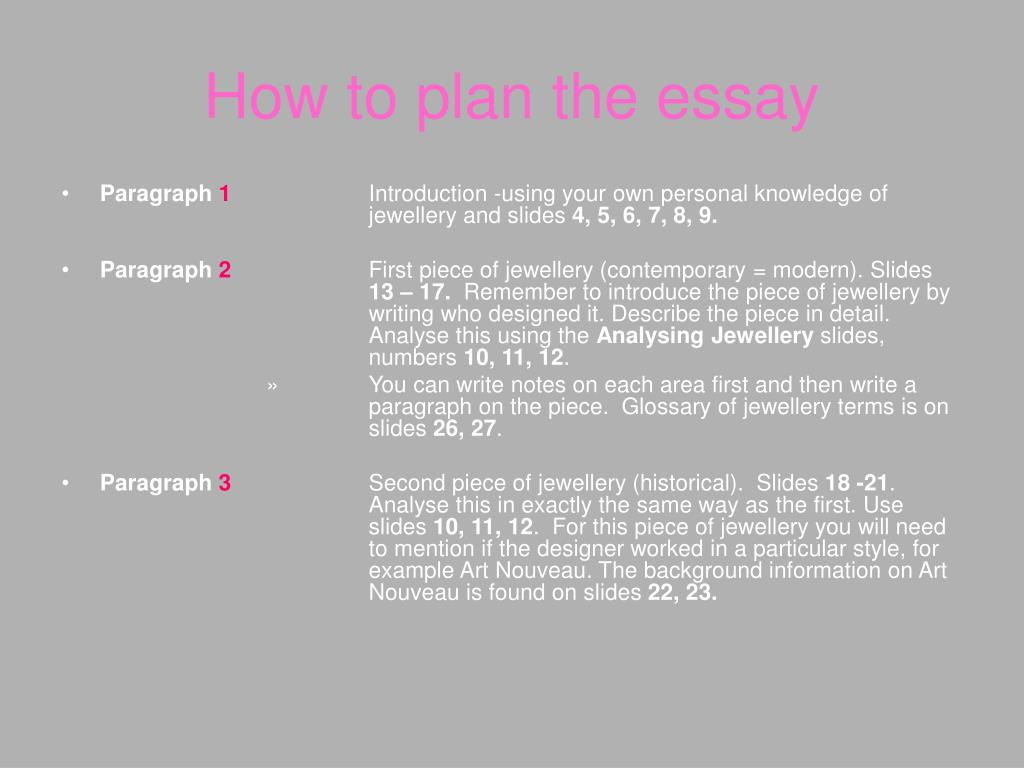 How to plan the essay