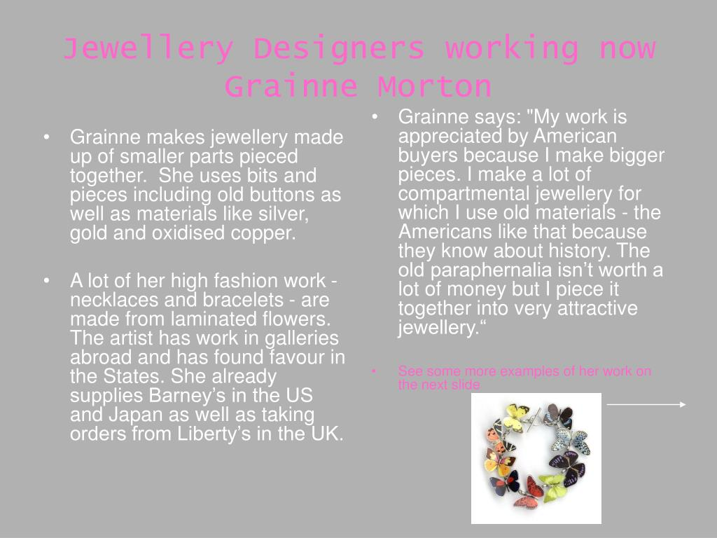 Grainne makes jewellery made up of smaller parts pieced together.  She uses bits and pieces including old buttons as well as materials like silver, gold and oxidised copper.