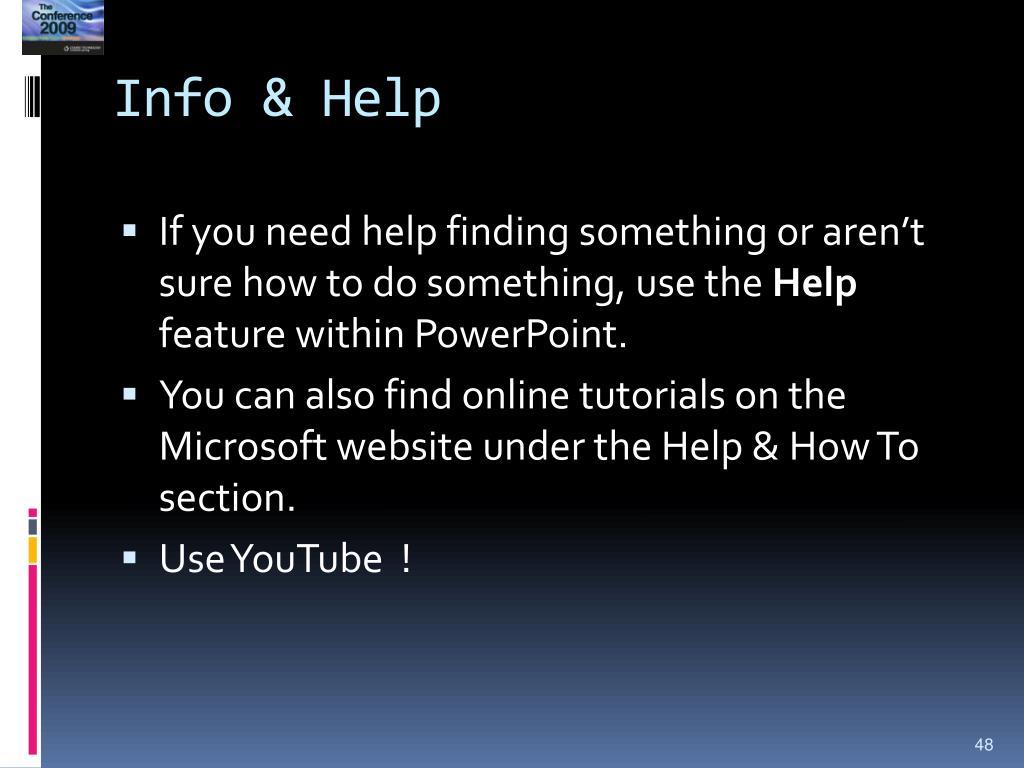 Info & Help