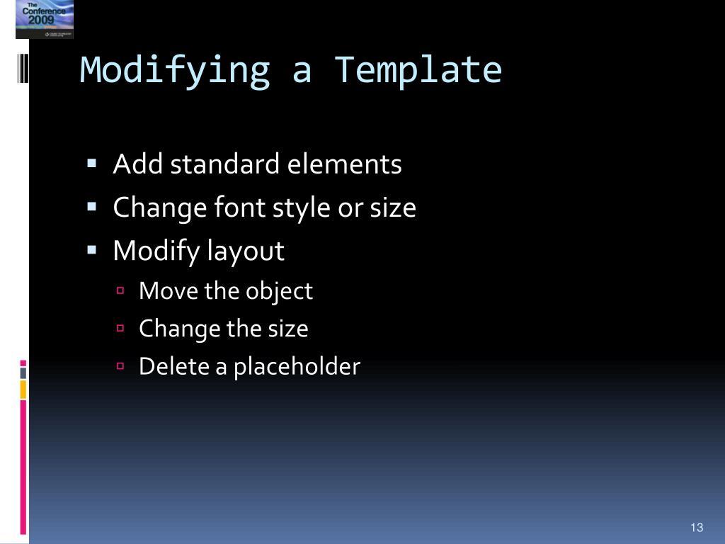 Modifying a Template