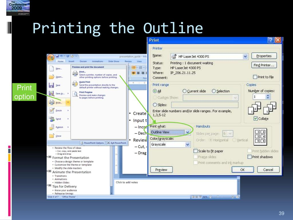 Printing the Outline