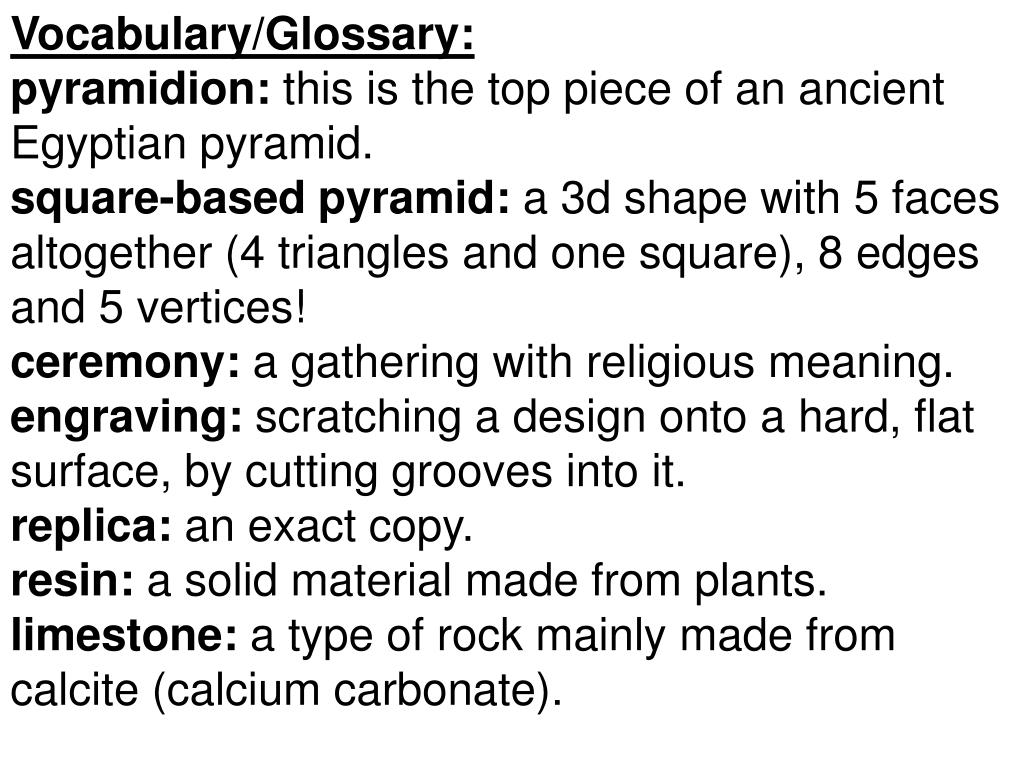 Vocabulary/Glossary: