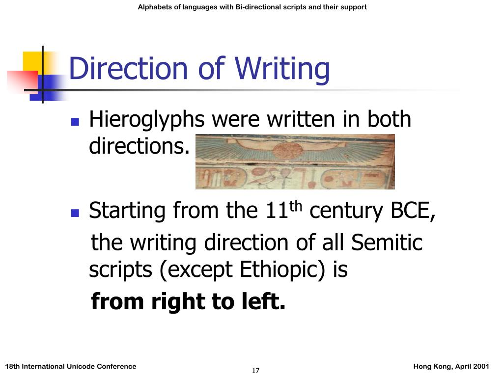 Direction of Writing