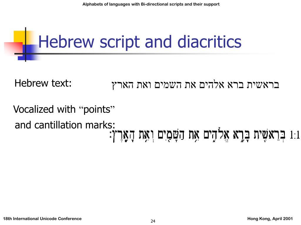 Hebrew script and diacritics
