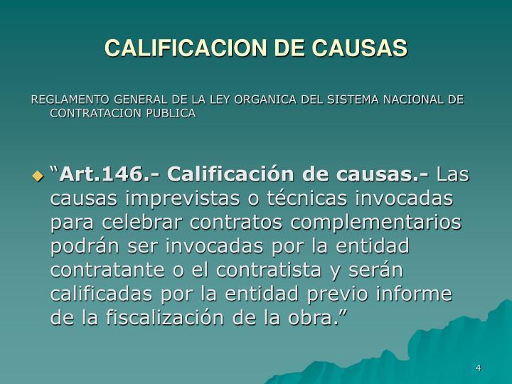 CALIFICACION DE CAUSAS