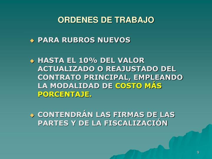 ORDENES DE TRABAJO
