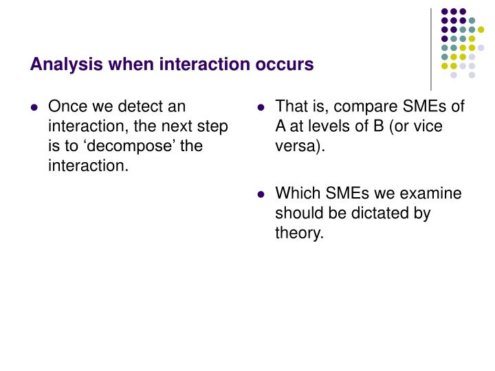 Once we detect an interaction, the next step is to 'decompose' the interaction.