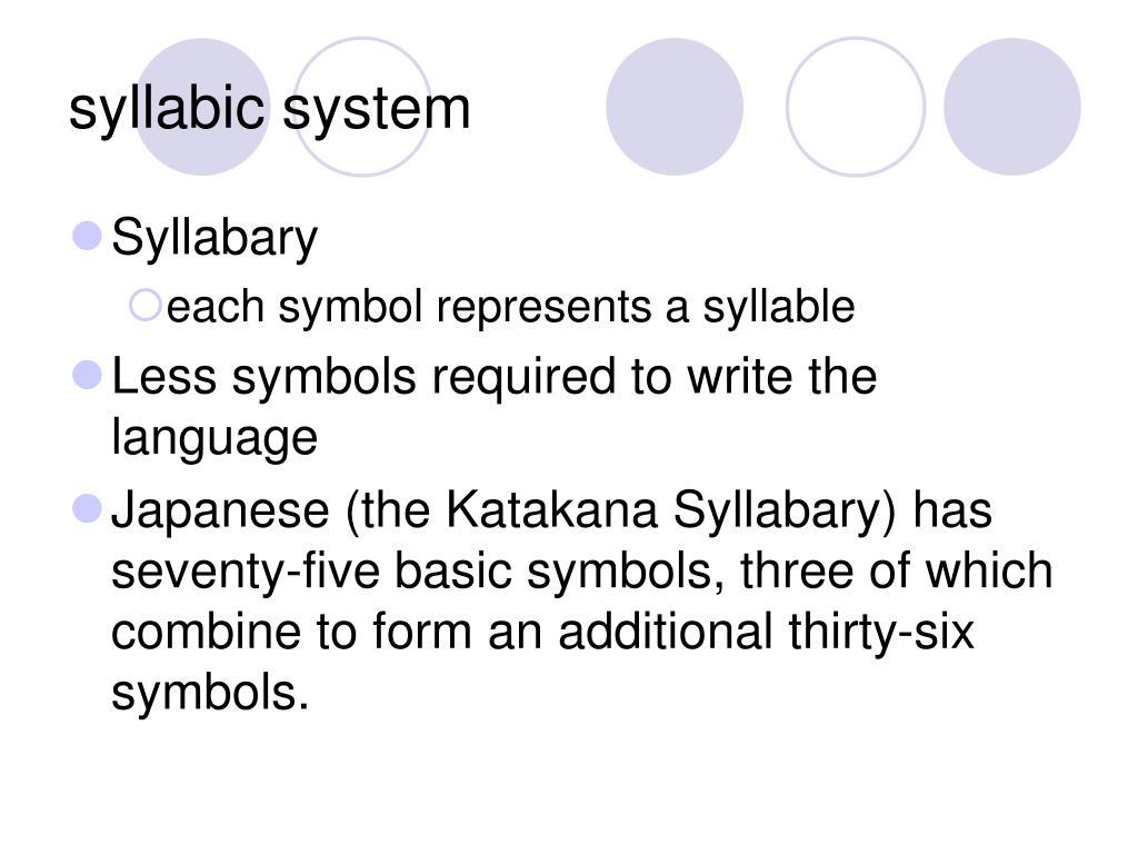 syllabic system