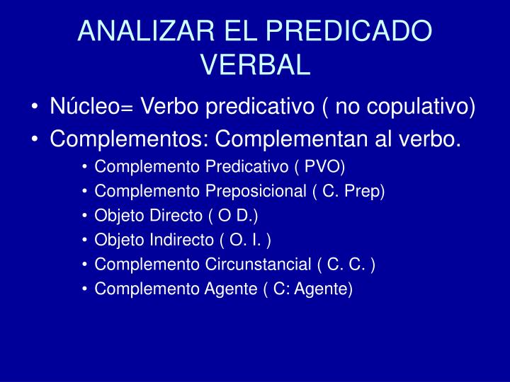 ANALIZAR EL PREDICADO VERBAL