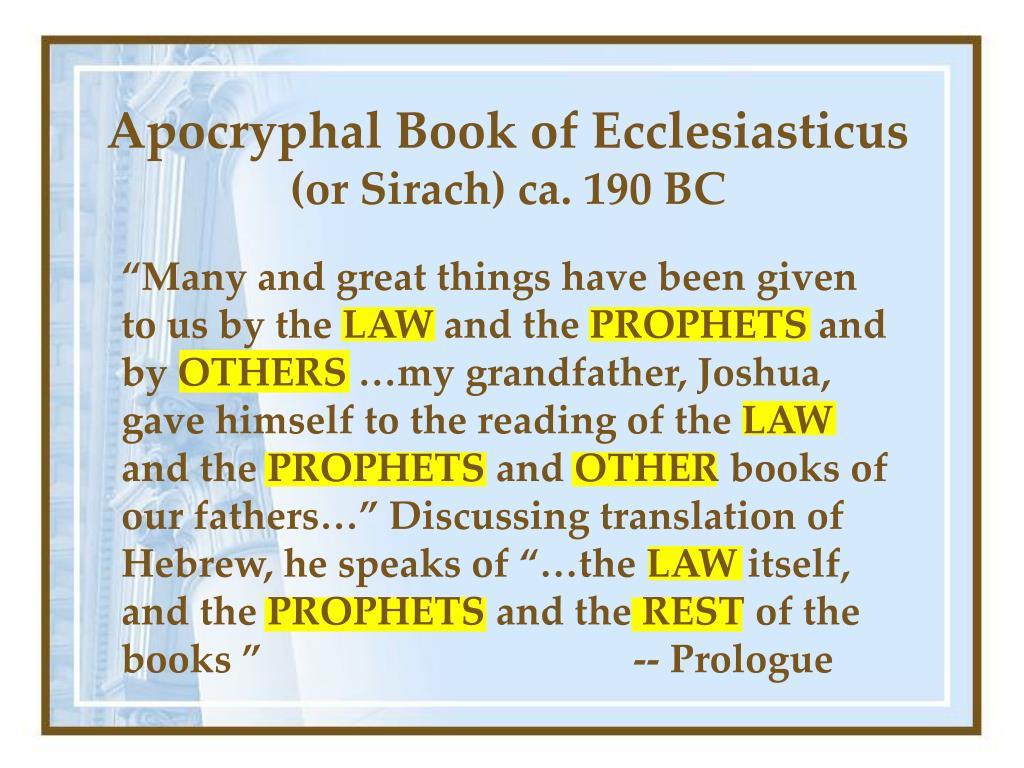 Apocryphal Book of Ecclesiasticus