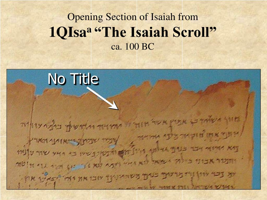 Opening Section of Isaiah from