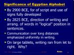 significance of egyptian alphabet