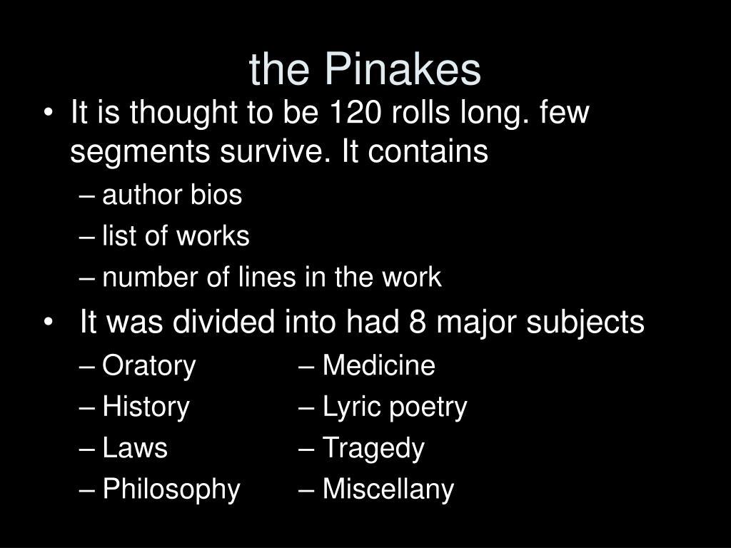 the Pinakes